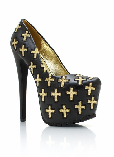 Cross Yourself Platform Pumps