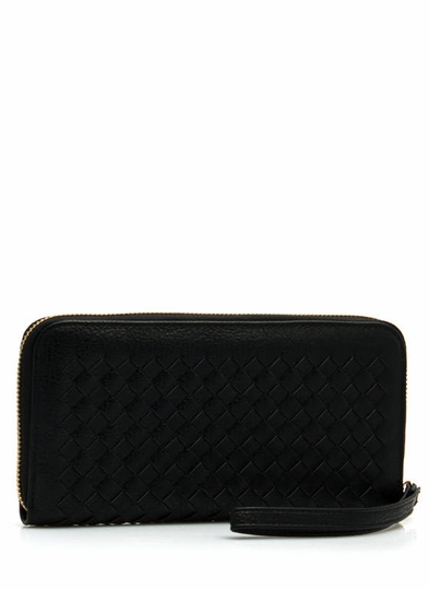 Crosshatched Faux Leather Wallet
