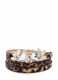 Crystal Accent Leopard Skinny Belt
