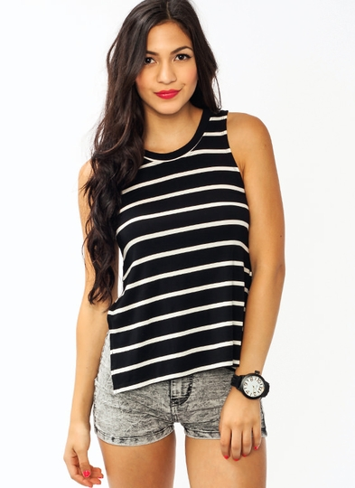 Curved Back Striped Tank