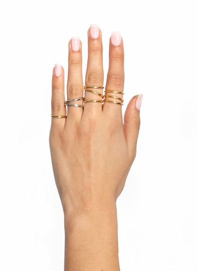 Curved Contours Ring Set