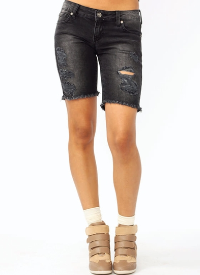 Cut-Off Distressed Bermuda Shorts
