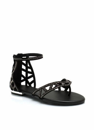 Cut-Out Ankle Strap Sandals