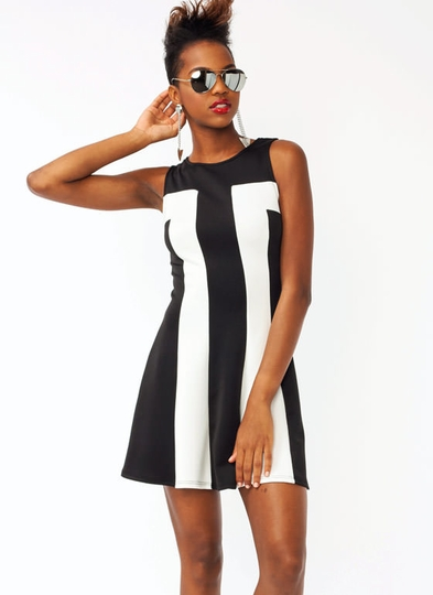 Cut-Out Contrast Dress