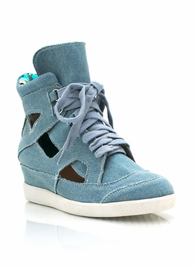 Cut-Out Denim Wedge Sneakers