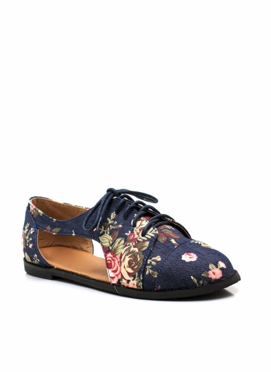 Cut-Out Lace-Up Floral Oxfords