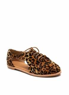 Cut-Out Lace-Up Leopard Oxfords
