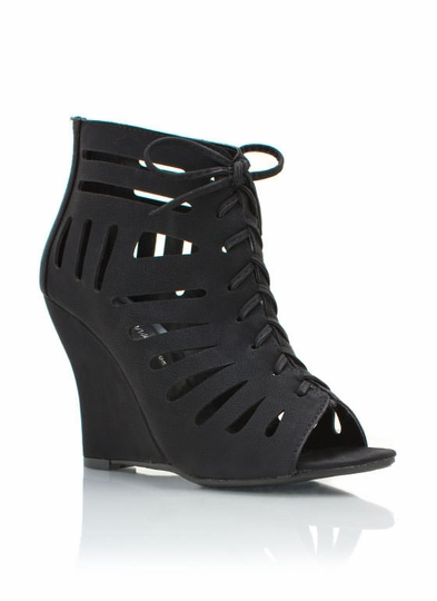 Cut-Out Lace-Up Wedges
