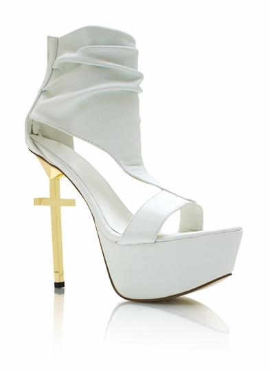 Cut-Out Metallic Cross Heels