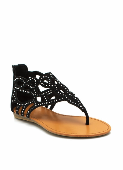 Cut-Out Thong Sandals