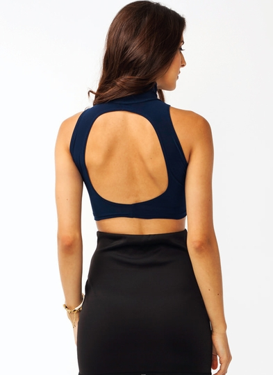 Cut-Out Turtleneck Cropped Top