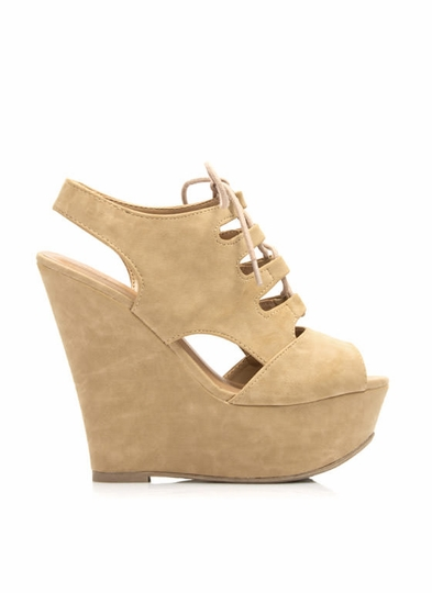 Cut Ties Lace-Up Platform Wedges