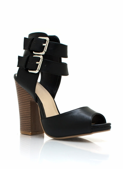 Cutting Edge Chunky Buckle Heels