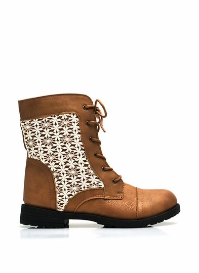 Daisy Daze Crochet Lace-Up Boots