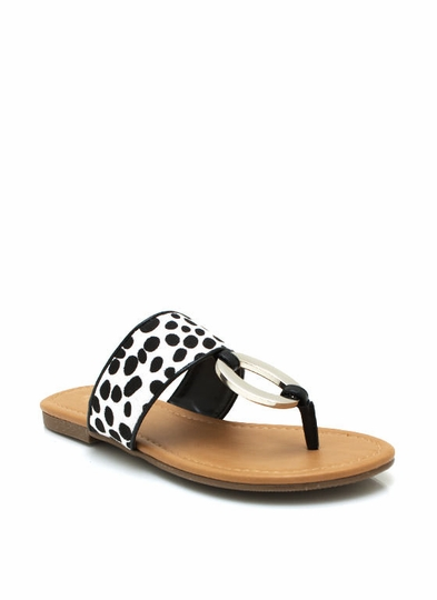 Dalmatian Metallic Accent Thong Sandals