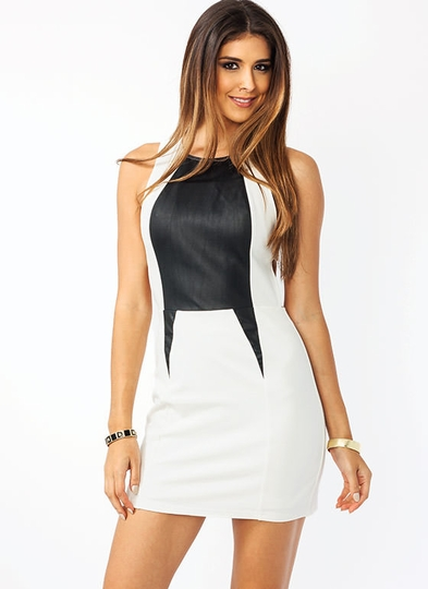 Dart Side Leather Inset Dress