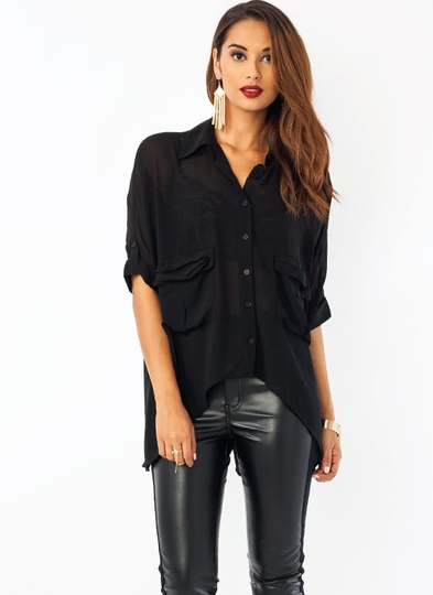 Deep Pockets Cuffed High-Low Blouse