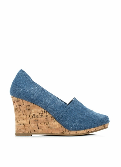 Denim Daze Faux Cork Wedges