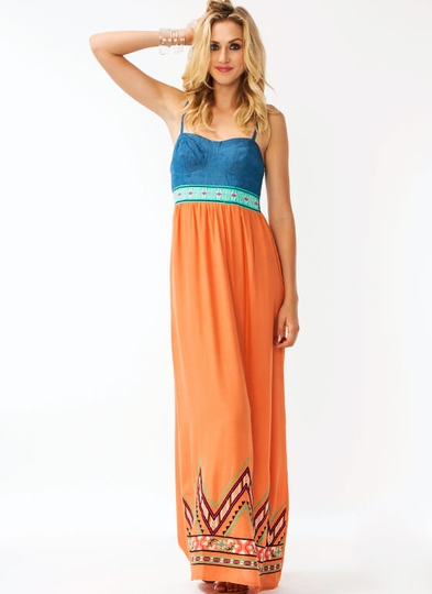 Denim Embroidered Maxi Dress