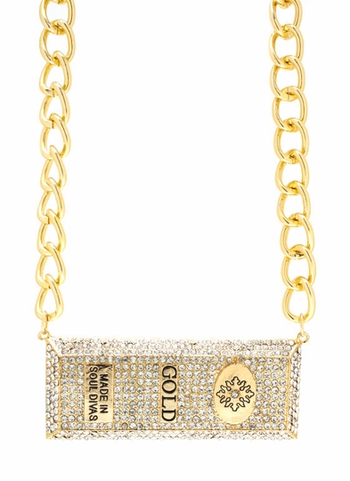 Diamonds And Gold Bar Necklace