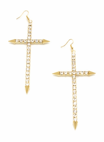 Diamonds On My Cross Earrings