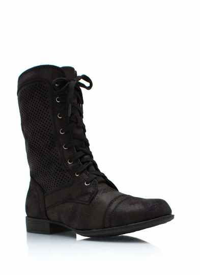 Distressed Perforated Combat Boots