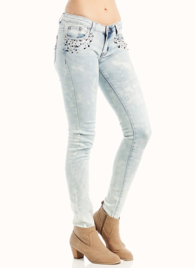 Distressed Rhinestone Embellished Jeans