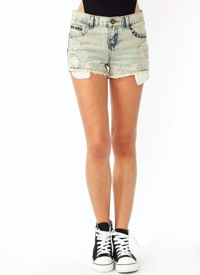 Distressed Studded Denim Shorts