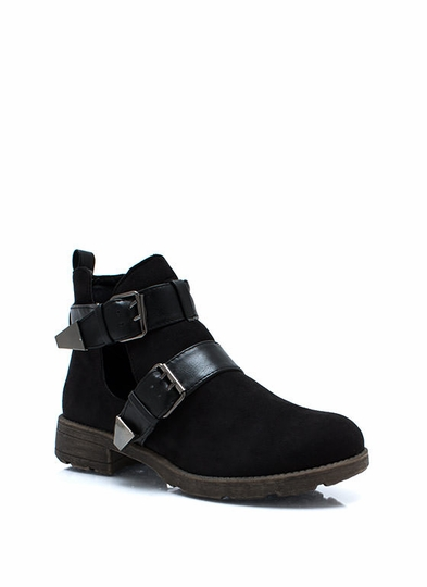 Double Buckle Cut Ankle Boots