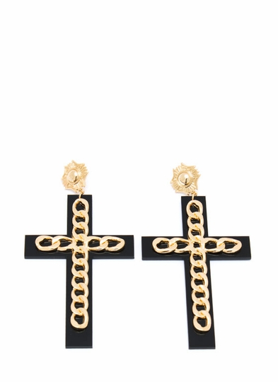 Double Cross Chain Link Earrings