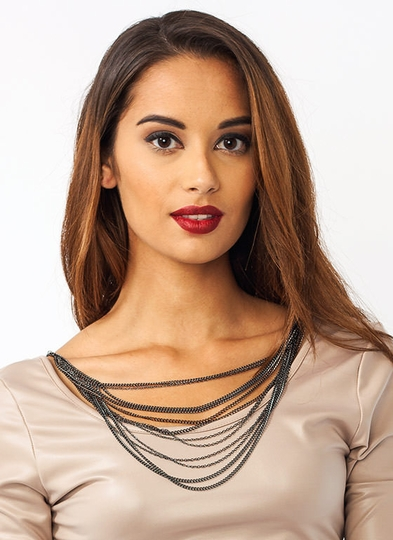 Double Layered Chain Necklace Set