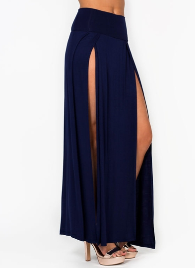 Double Slit Jersey Maxi Skirt