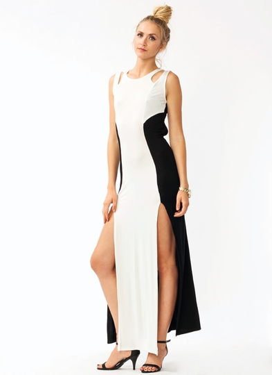 Double Slit Layered Maxi Dress