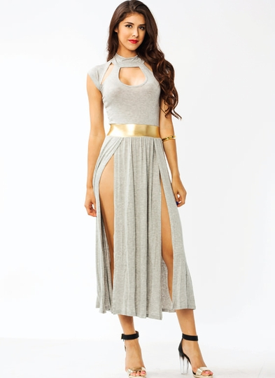 Double-Slit Warrior Cut-Out Dress