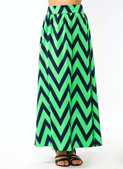 Double Slit Zigzag Maxi Skirt
