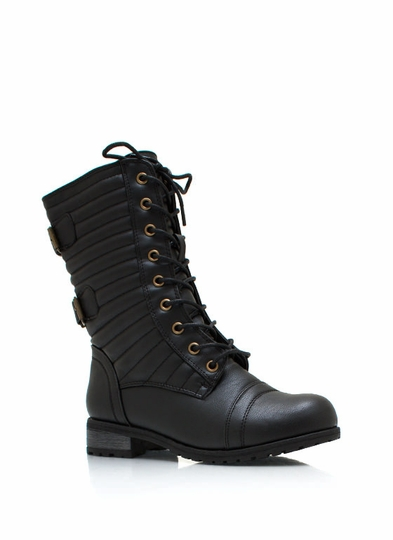 Double Trouble Buckled Combat Boots
