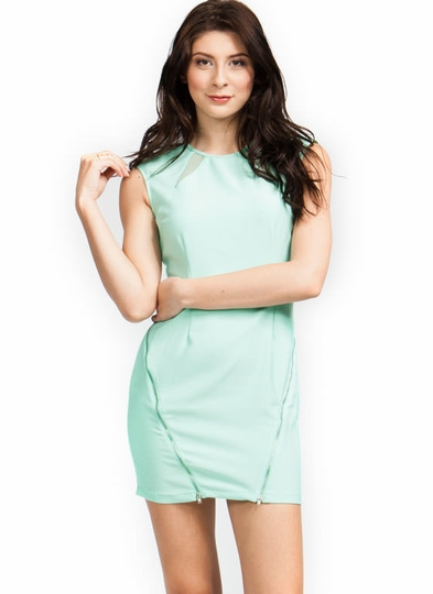 Double Zippered Cap Sleeve Dress