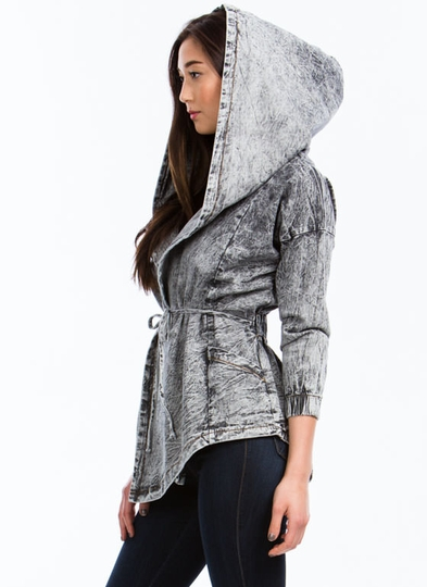 Draped Acid Wash Hooded Jacket