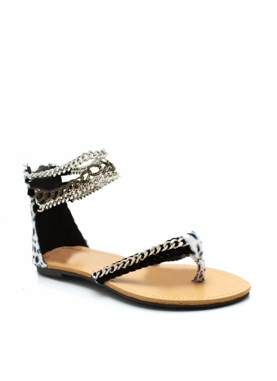 Draped Chain Cheetah Sandals