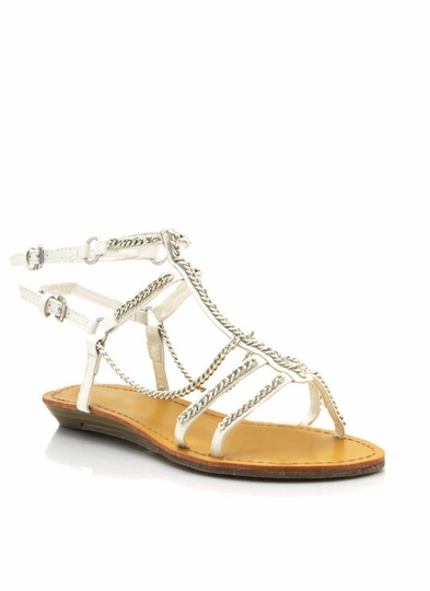 Draped Chain Gladiator Sandals