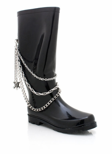 Draped Chain Rain Boot