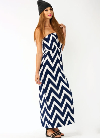 Draped Zigzag Maxi Dress