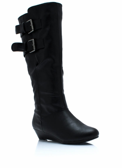 Duo Buckle Low Wedge Boots