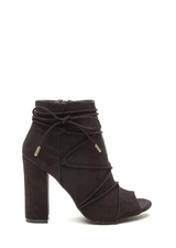 Easy Strut Lace-Up Faux Suede Booties