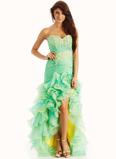 Embellished Asymmetrical Ruffle Formal