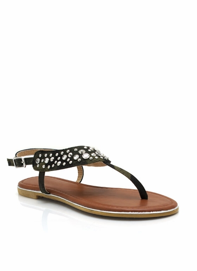 Embellished Camo T-Strap Sandals