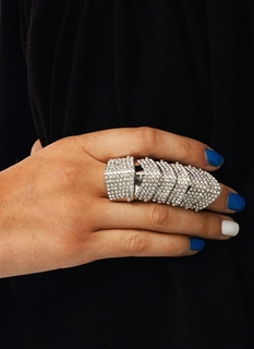 Embellished Chevron Shield Ring