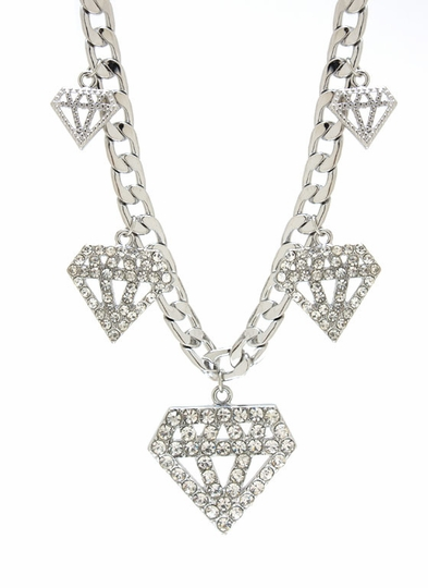 Embellished Diamond Charm Necklace Set