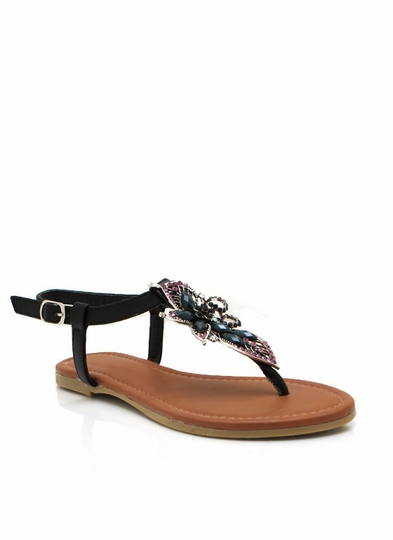 Embellished Flower Sandals