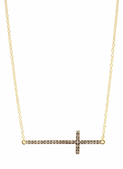 Embellished Sideways Cross Necklace